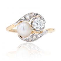 Bague ancienne toi et moi diamants perle fine