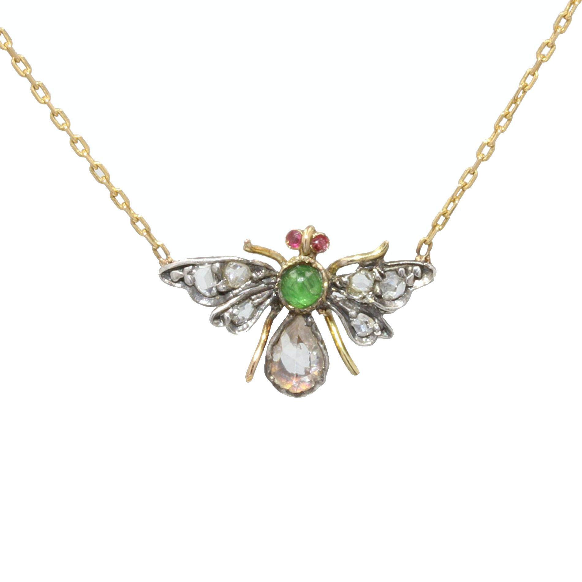 Collier ancien abeille en diamants émeraude et rubis