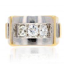 Bague art déco diamants 2 ors