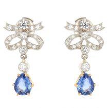 Boucles d'oreilles nœuds de diamants et saphirs