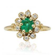 Bague émeraude diamants en marguerite