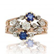 Bague ancienne 3 anneaux saphirs diamants