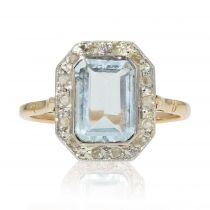 Bague ancienne aigue-marine diamants