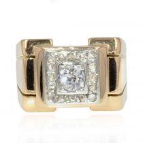 Bague tank carrée diamants