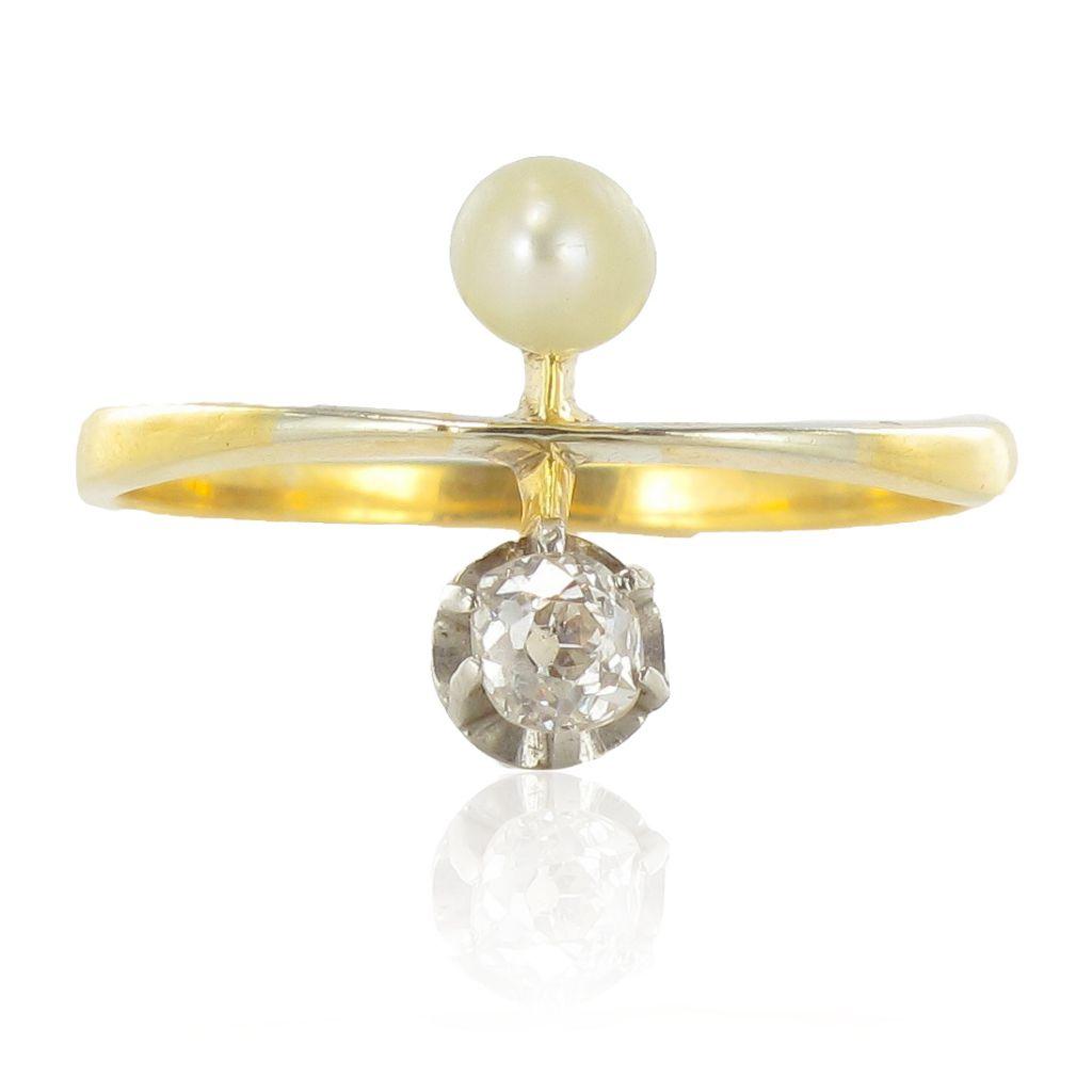 Bague toi et moi perle et diamant