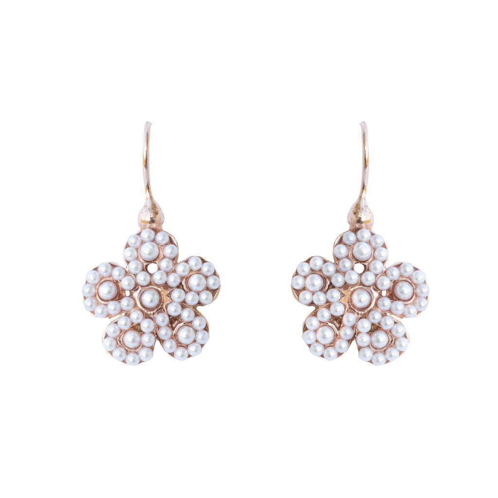Boucles d'oreilles fleurs perles