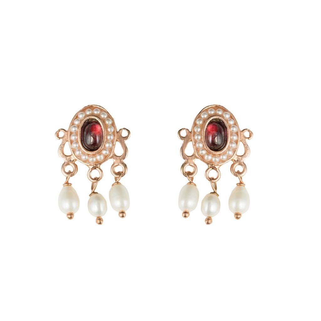 Boucles d'oreilles ovales cabochon et perles