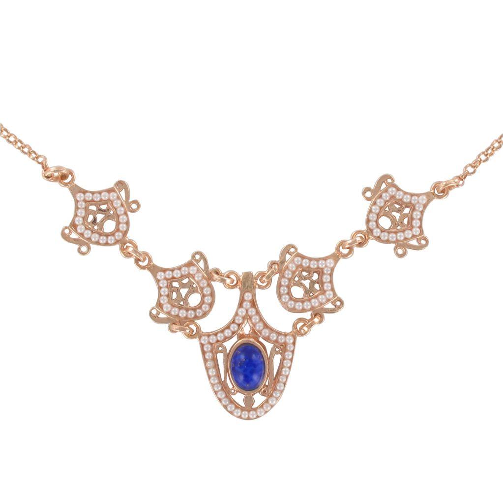 Collier en argent et or, motif perles et cabochon