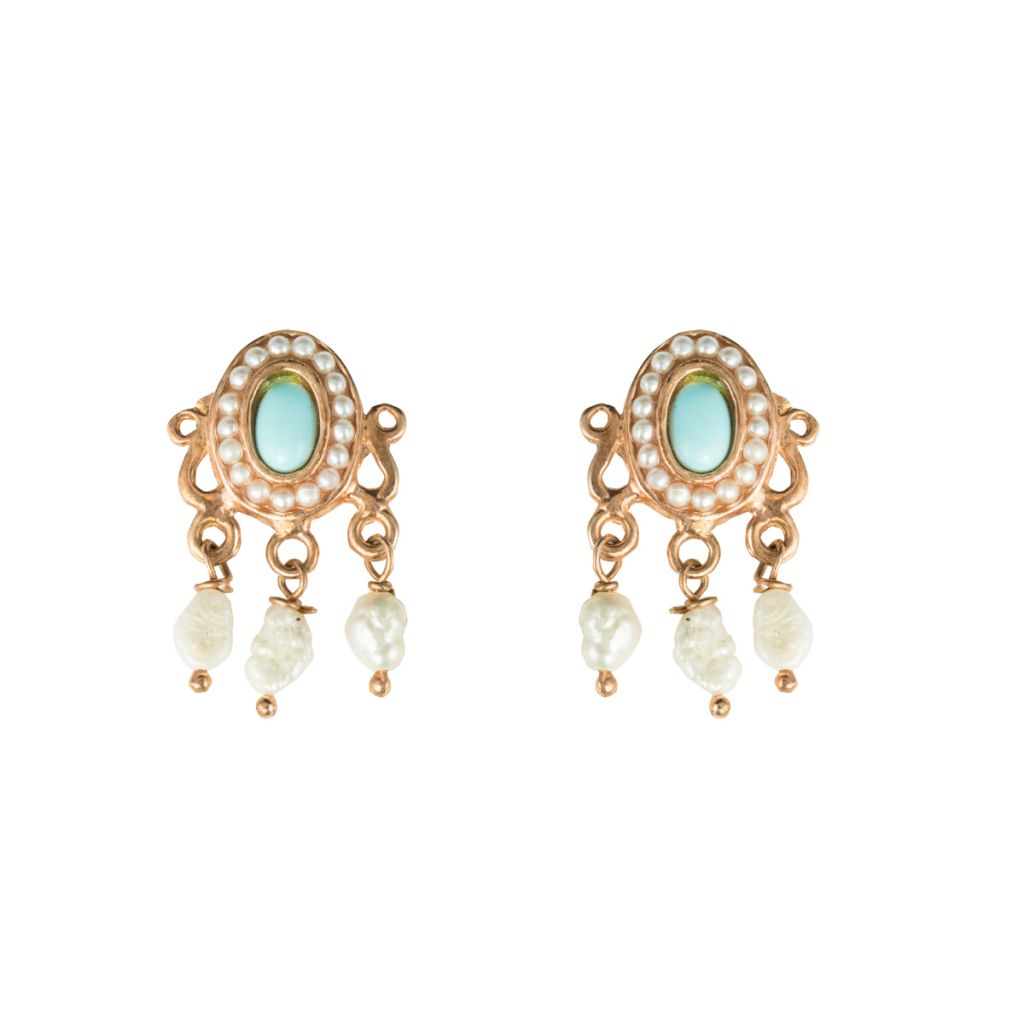 Boucles d'oreilles ovales cabochon turquoise