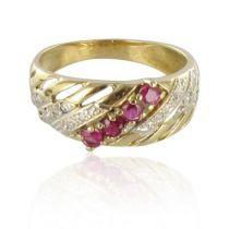 Ruby and diamond openwork bangle ring