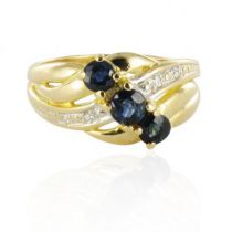 Modern sapphire gold trilogy ring