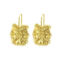 Gold and silver masks earrings
