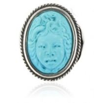 Antique Turquoise Silver Cameo Ring