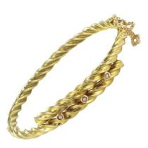 Antique Twisted Gold and Fine Pearl Bangle Bracelet