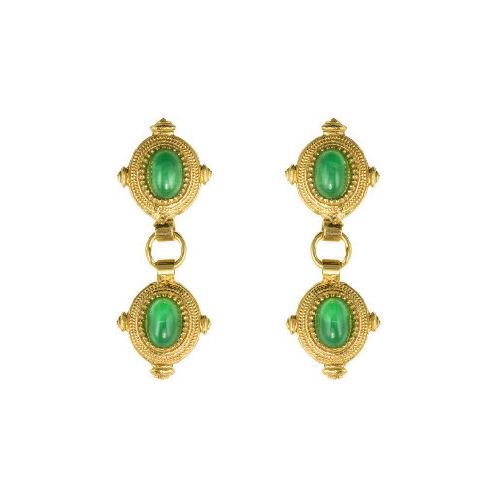 Boucles d'oreilles Etrusques pendantes pierre verte