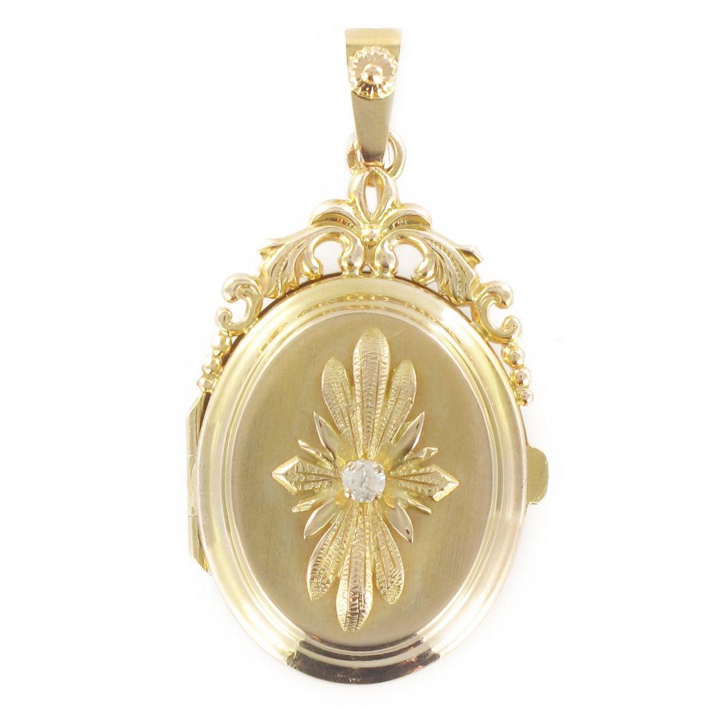 Médaillon ancien ouvrant or et diamant