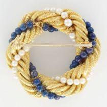 Broche or torsadé perles de cultures et de lapis lazuli