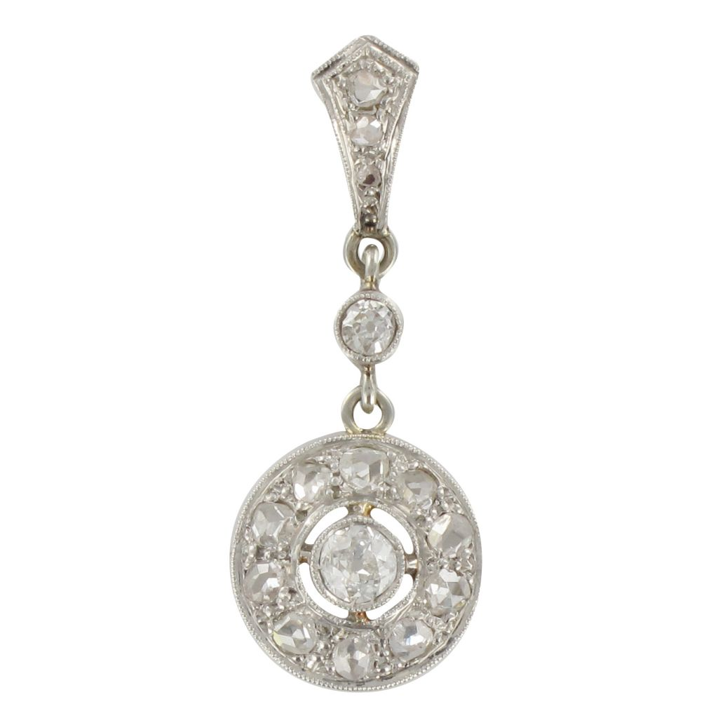 Pendentif ancien diamants or blanc