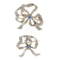 Pair of sapphire and diamond antique brooches