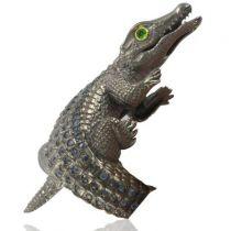 New Sapphire Blackened Silver Crocodile Ring