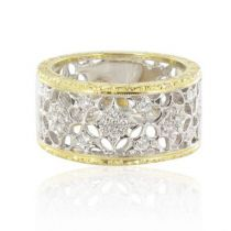 New Diamond Two Color Gold Filigree Band Ring