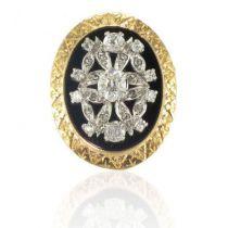 1900s French Onyx Diamond Gold Platinum Ring