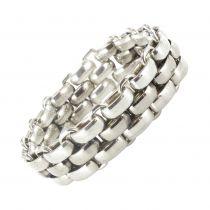 Antique silver flat mesh bracelet