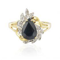 Bague saphir et diamants or jaune