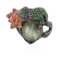 Ruby tsavorite garnet and labradorite frog ring