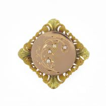 19th century fine pearls rose and green golds brooch
