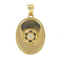 French 19th century Diamond and Black Enamel Pendant Necklace