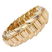 Gold articulated tank bracelet with ears of wheat links