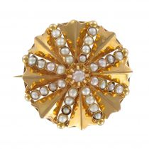 19th Century natural pearls and rose gold brooch