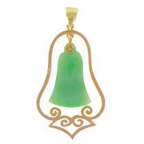 1920's Yellow gold jade pendant