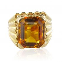 French 1960s Citrine Yellow Gold Ring