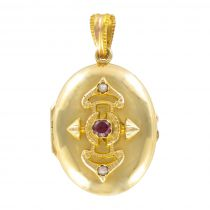 19th century garnet and pearl oval gold medallion
