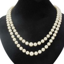 Two Strand Japanese Cultured Round White Pearl Necklace
