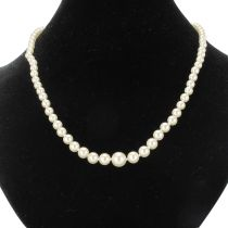 1950s Japanese Cultured Round White Pearl Necklace