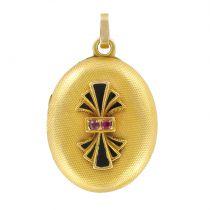 Napoleon III Oval Enamel and Ruby Medallion Locket Pendant
