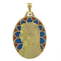 Virgin yellow gold and enamel oval medal