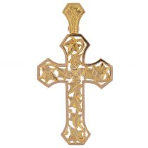 Rose Gold and Ivy Leaves Cross Pendant