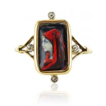 Limoges enamel antique square ring