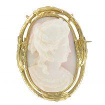19th Century Cameo on Shell Pendant - Brooch