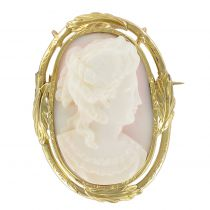 19th Century Cameo on Shell Pendant - Brooch