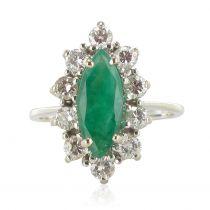 French 1970s White Gold Emerald Diamond Retro Marquise Ring