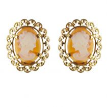Vintage Cameo and Gold Clips Earrings
