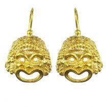 Italian Vermeil Grimacing Mask Drop Earrings