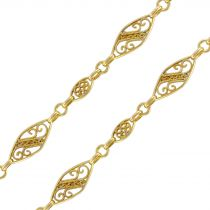 1900s French Gold Matinee Necklace with Filigree Motifs