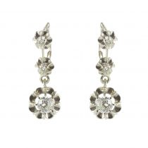 French 1930s Three Diamond White Gold Dangle Drop Earrings