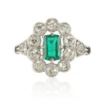 French 1900s Emerald Diamond 18 Carat White Gold Cluster Ring